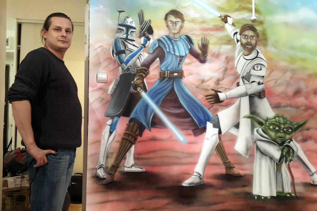 Malowanie motywu z filmu Gwiezdne wojny u chłopca na ścianie, malowanie obrazów na scianie, Warszawa,