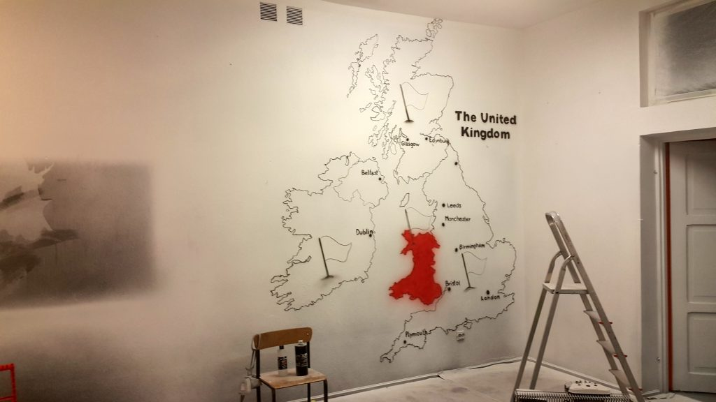 Malowanie na ścianie mapy Angli, mural ścienny