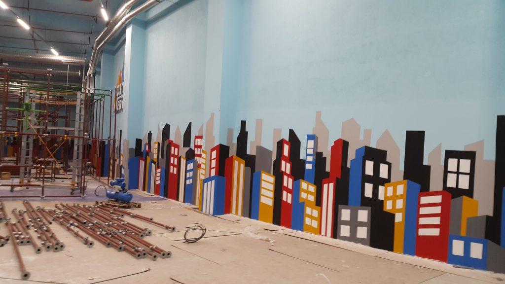 Malowanie graffiti, mural ścienny 3D