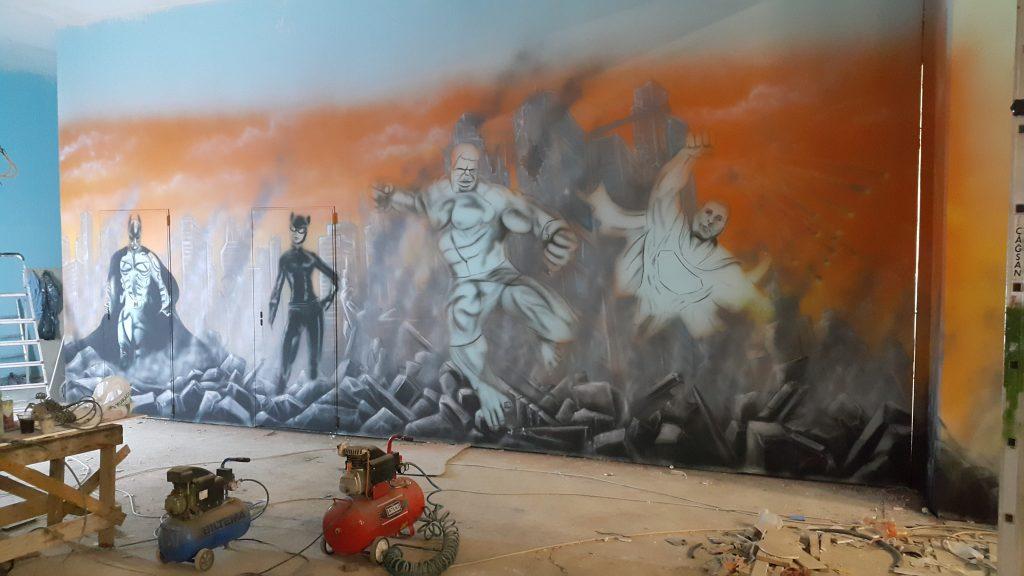 Artystyczne malowanie graffiti, mural 3D