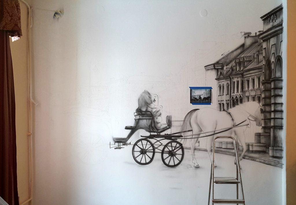 Artystyczne malowanie ścian, obraz w sepii