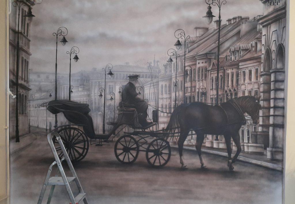 Malowidło ścienne obraz w czarnobieli