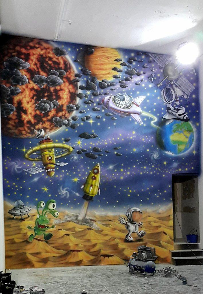 malowanie ściany wspinaczkowej, malowanie kosmosu, mural 3D
