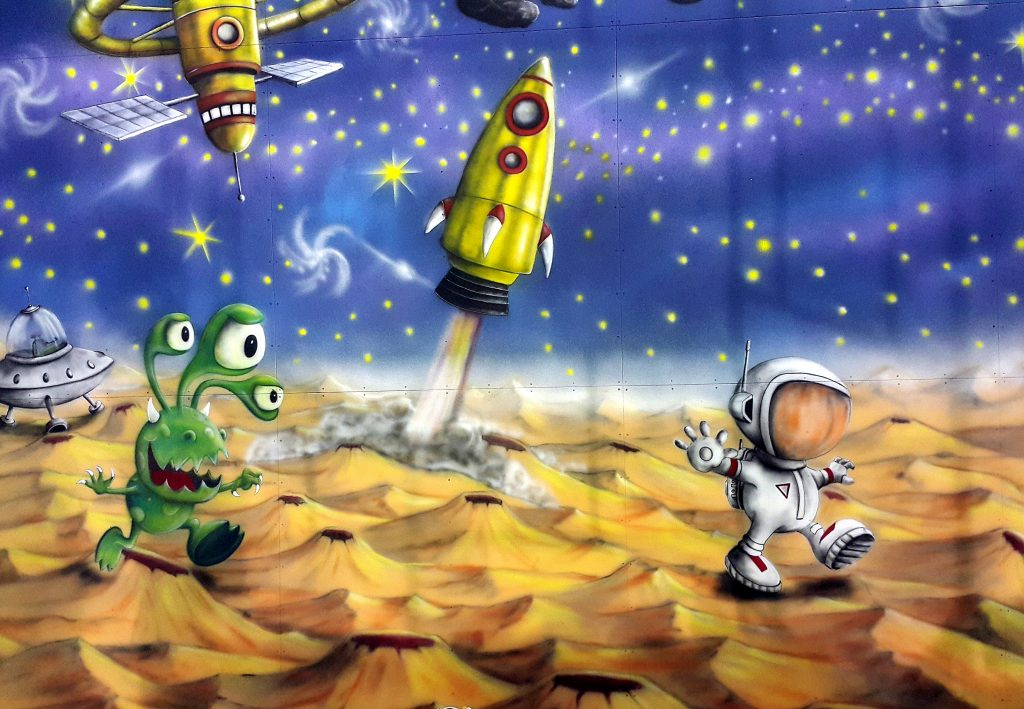 Kosmos, graffiti 3D, malowanie ściany wspinaczkowej