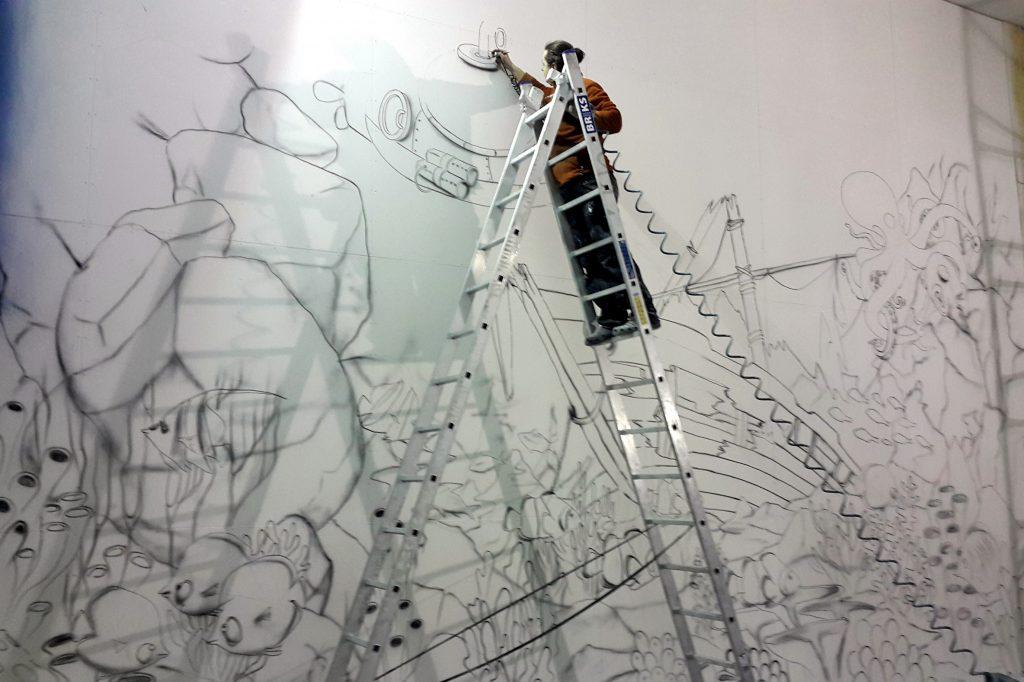 Malowanie rybek na ścianie, malarstwo artystyczne
