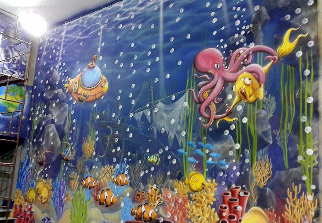 Obraz namalowany ręcznie na ścianie, mural wielkoformatowy