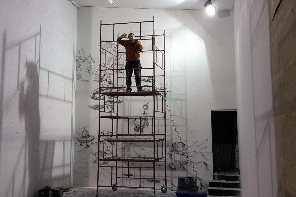 malowanie ściany wspinaczkowej, mural 3D