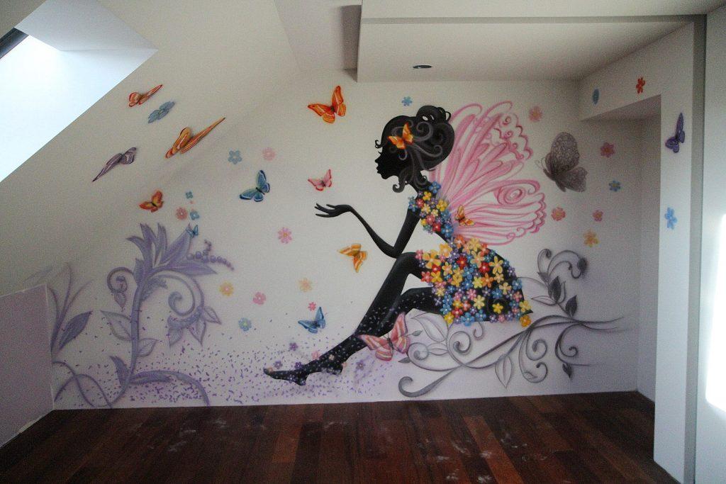 Malowanie graffiki ściennej w pokoju dziewczynki,nastolatki, mural