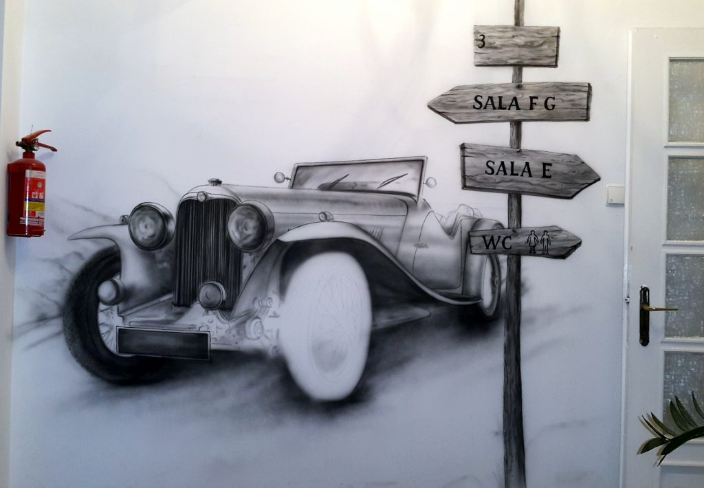 Malowanie samochodu na ścianie , graffiti w pokoju malowanie auta