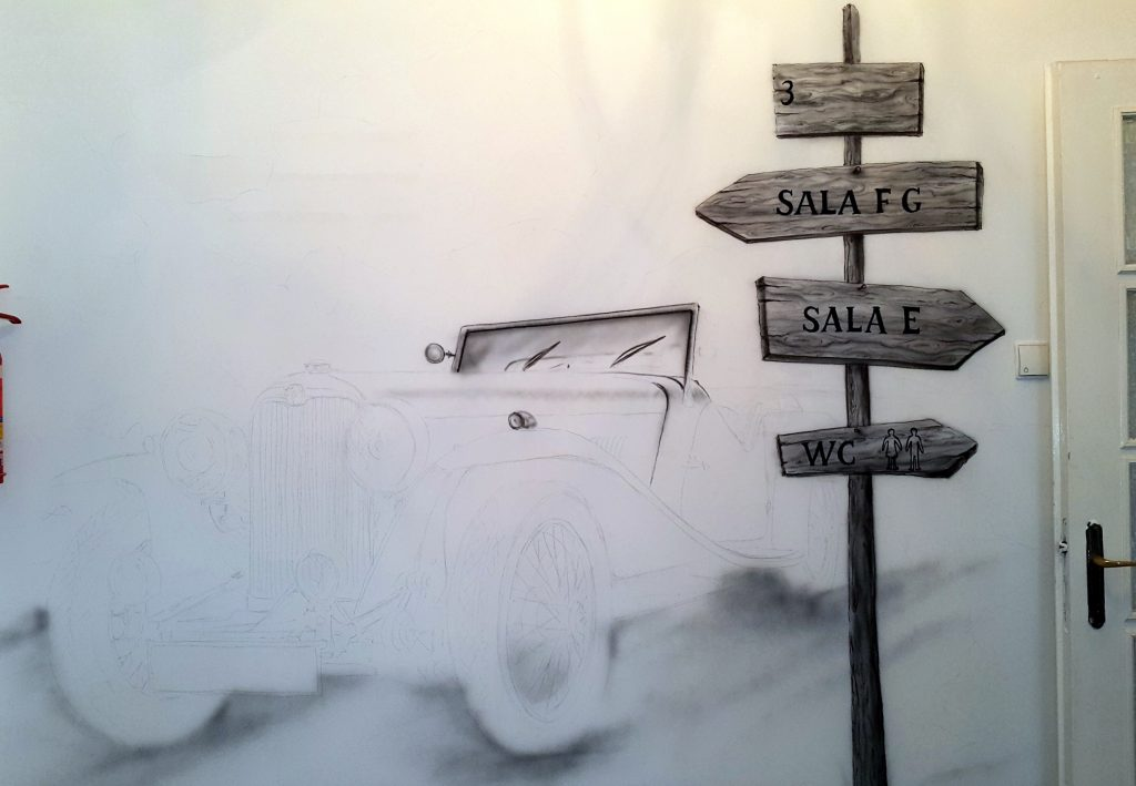 Obraz w czarno-bieli, malowanie samochodu na ścianie
