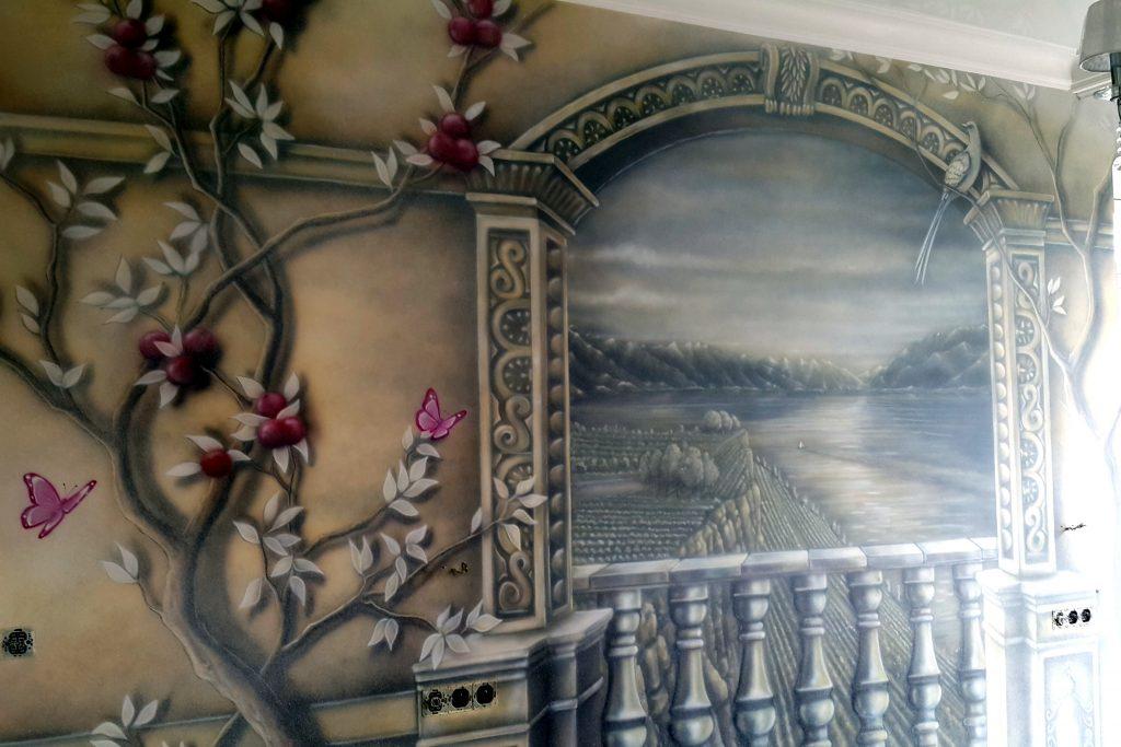 Obraz 3D w sypialni, Mural namalowany na ścianie w sypialni,