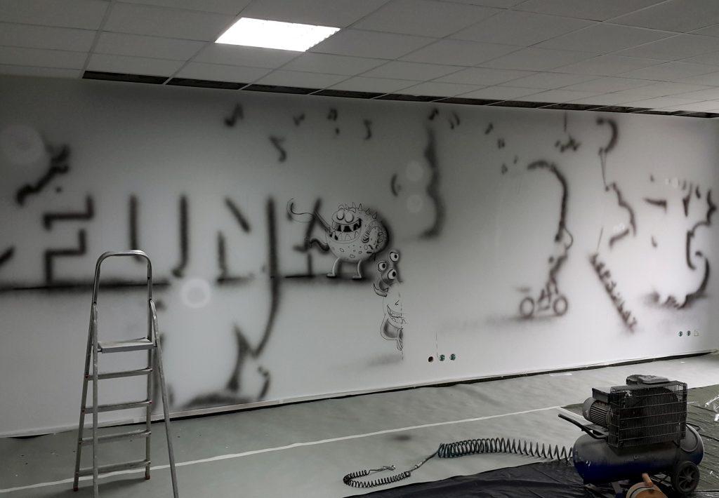 Mural w biurze pokoju relaksacyjnego
