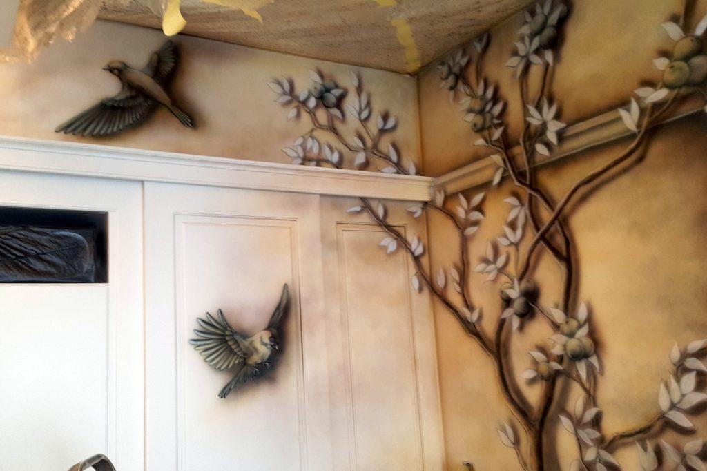 Obraz 3D w sypialni, Fresk namalowany na ścianie