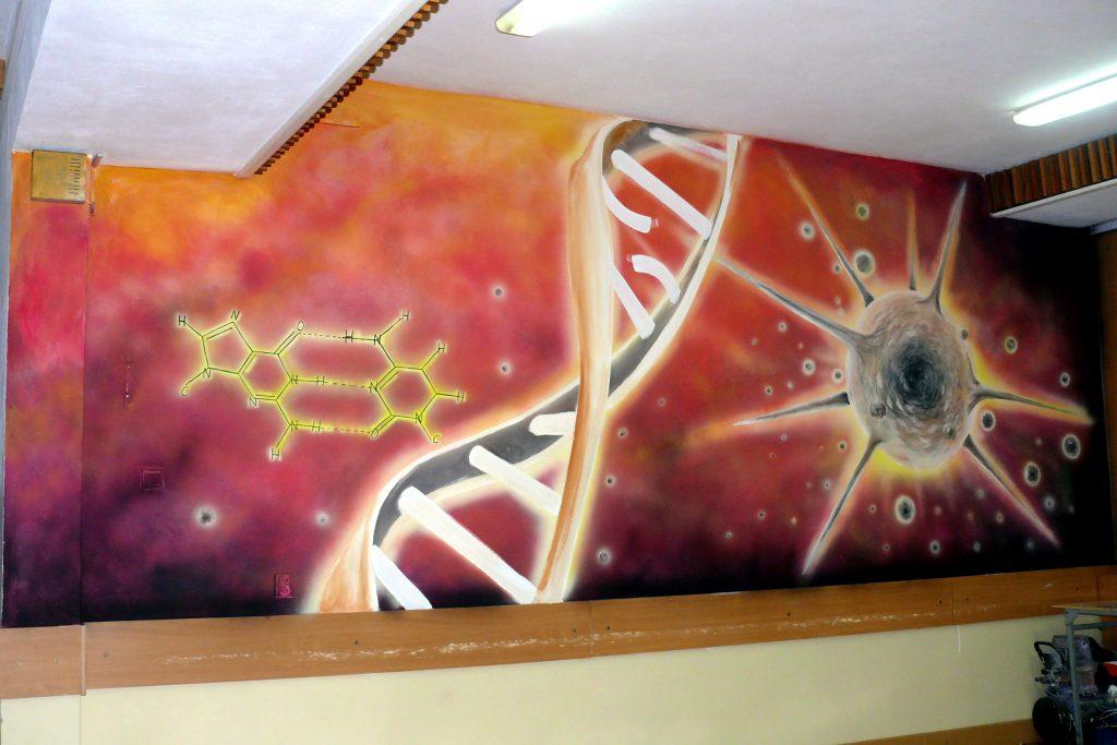 Mural DNA na szkolnym korytarzu szkoły medycznej, aranżacja ściany
