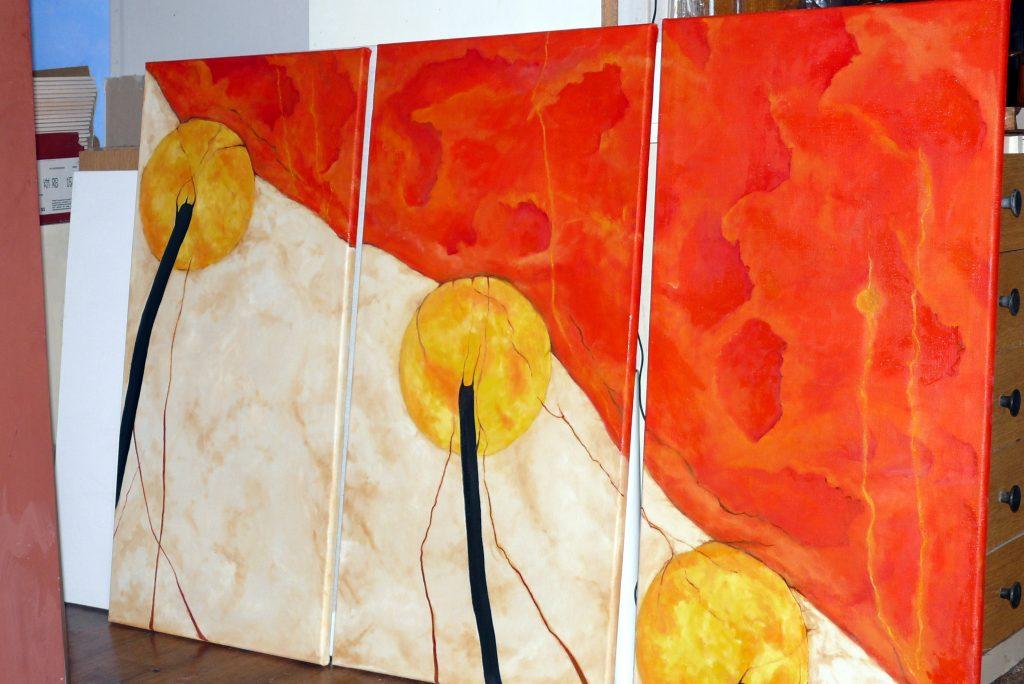 Malowanie nowoczesnej abstrakcji na ścianie, obraz surrealistyczny malowany malowany na płótnie