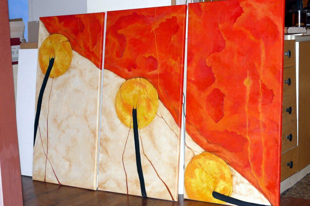 Malowanie obrazu olejnego, abstrakcja do nowoczesnego wnętrza,