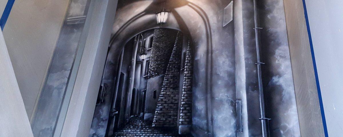 Malowanie obrazu 3D, uliczka w perspektywie