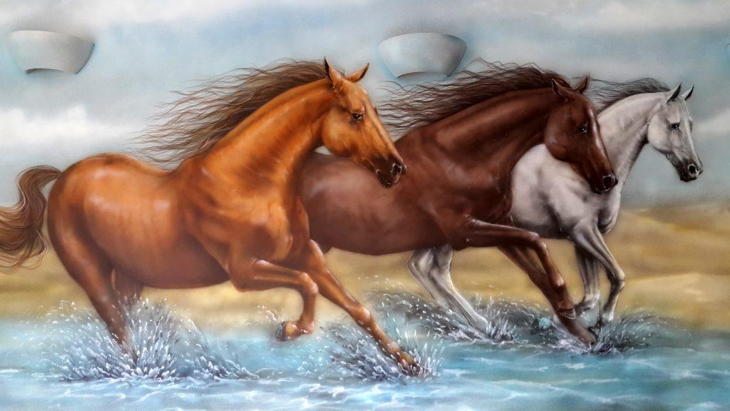Malowanie konie w galopie,