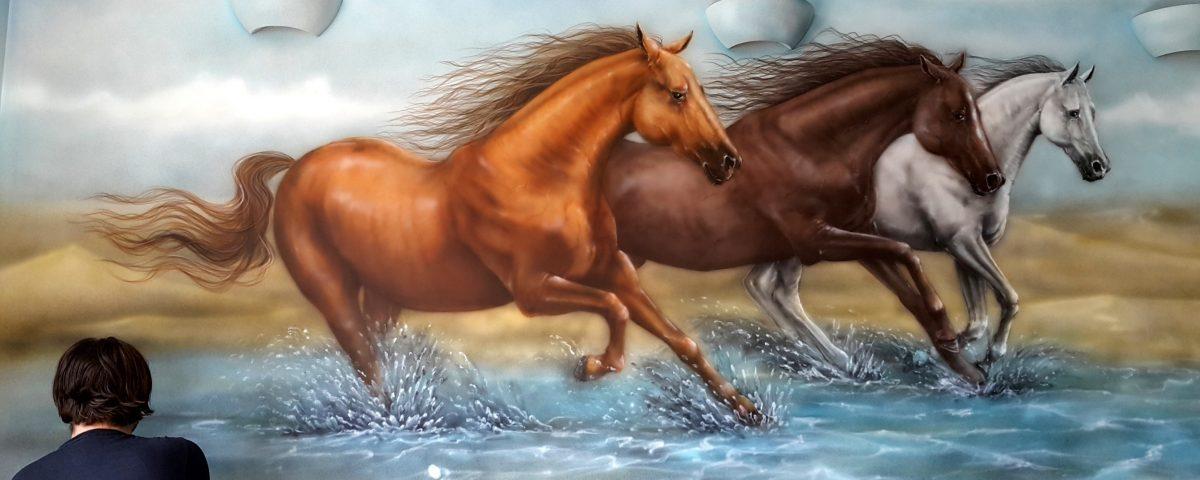 Malowanie koni, obrazy olejne, malarstwo ścienne