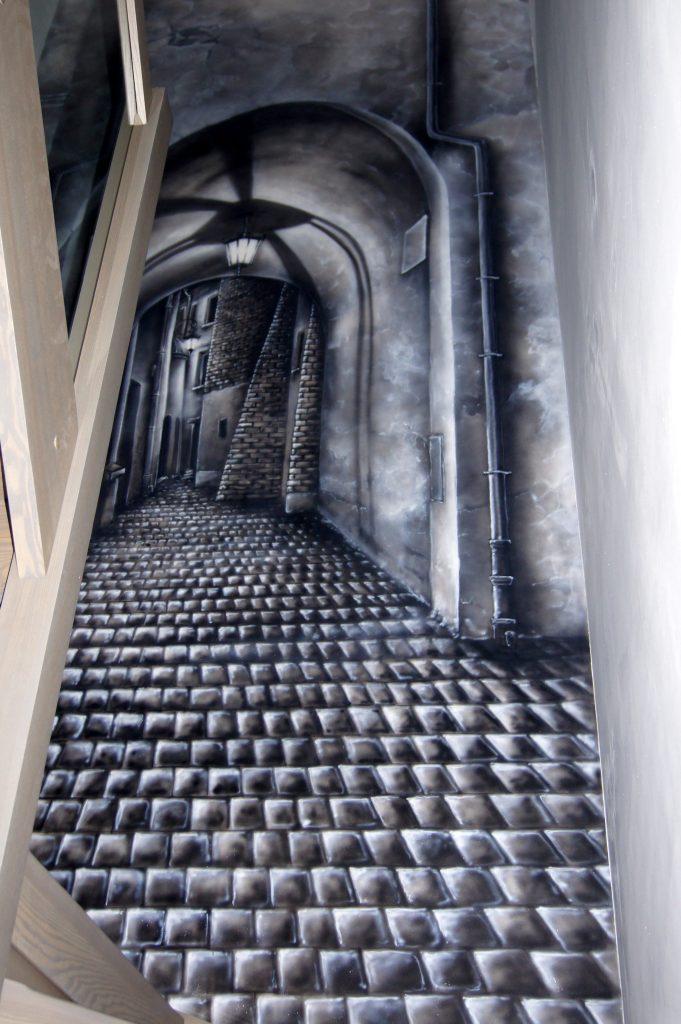 Aranżacja klatki schodowej, malowanie obrazu na klatce schodowej Mural 3D