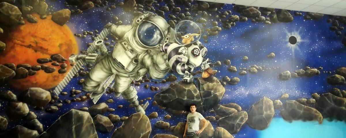 Malowanie astronauty w bawialni, mural 3D