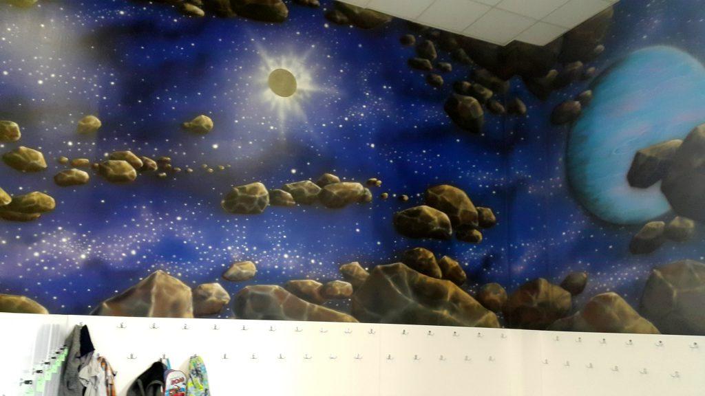 Malowanie kosmosu w bawialni, mural 3D