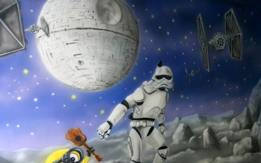 Malowanie gwiezdne wojnu, mural w salce urodzinowej,