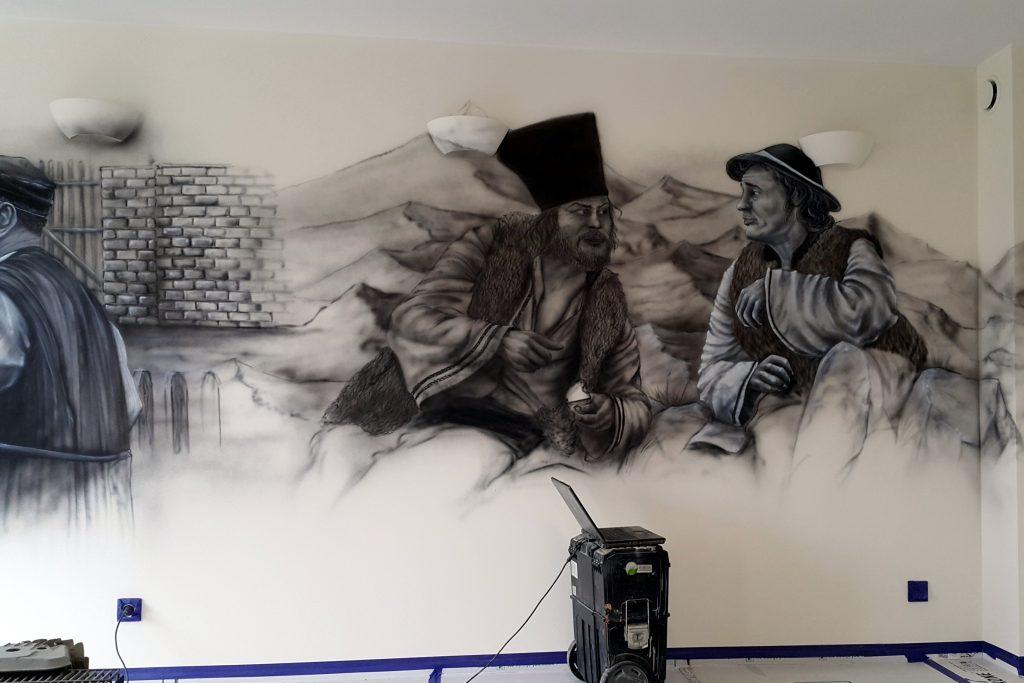 Malowidło ścienne, czarnobiały obraz namalowany na scianie