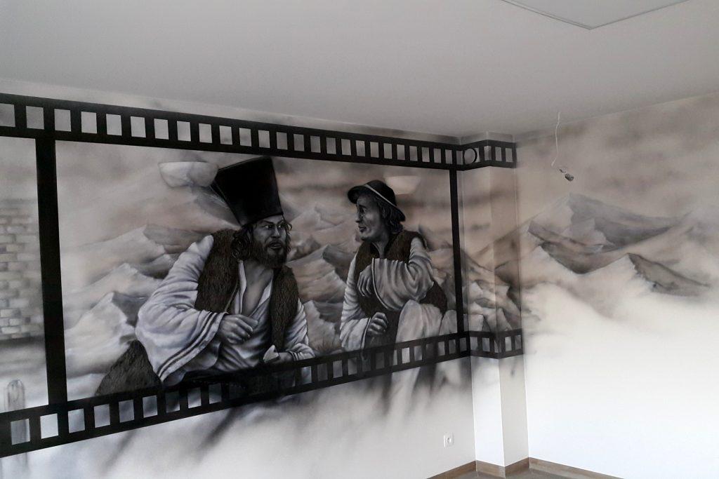 Malowidło ścienne, mural z filmu Janosik, malowidło mono-chromatyczne