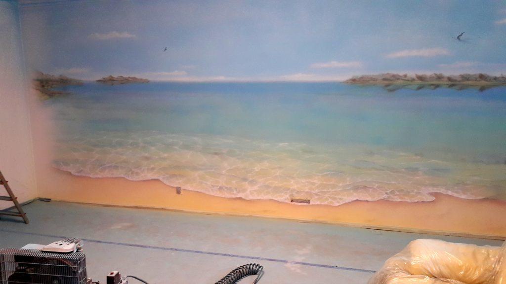 Malowanie obrazów na ścianie, mural 3D, malowanie morza,