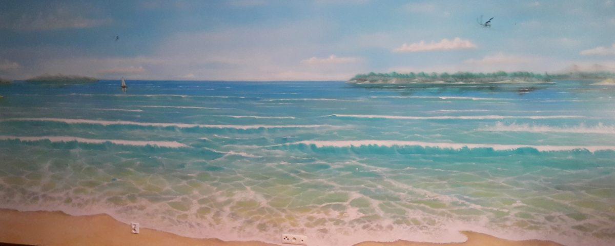 Pejzaż morski, malowanie obrazu na scianie
