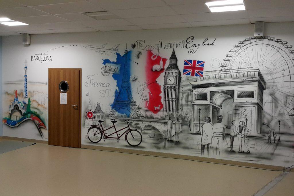 Malowanie klasy językowej, dekorasja sal językowych, mural w klasie,