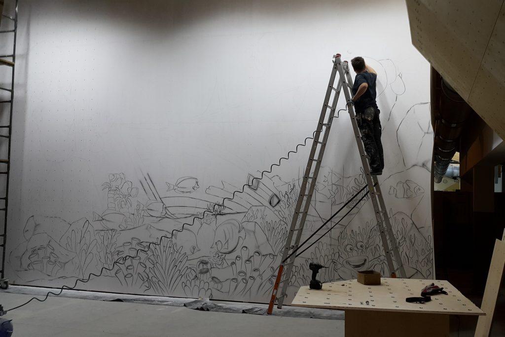 Graffit dla dzieci, mural 3D w bawialni, malowanie ścian w bawialni