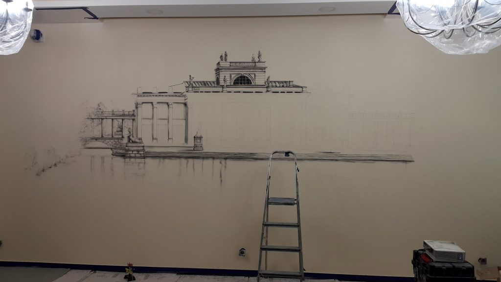 Malowanie obrazów na ścianie, duży obraz na scianie artystyczne malowanie sśian