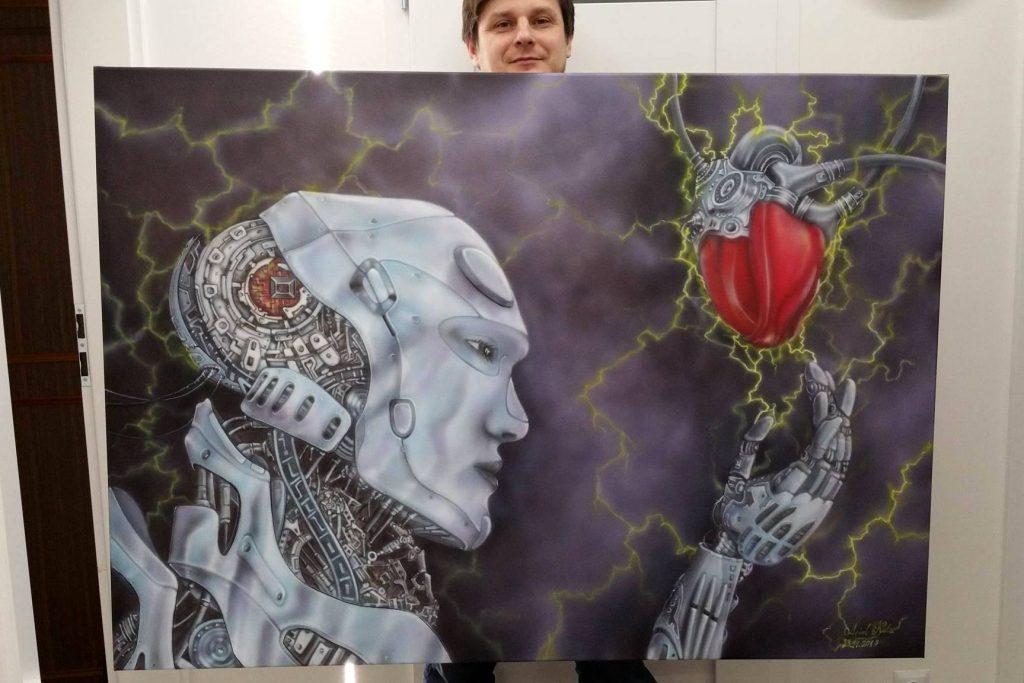 Malowanie obrazów na zamówienie, duży obraz olejny do nowoczesnego wnętrza, malowanie robota , wrocław