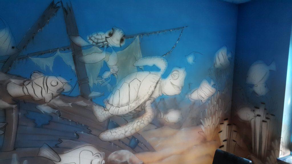 Malowanie pokoju dziecięcego, pokój chłopca w rybki