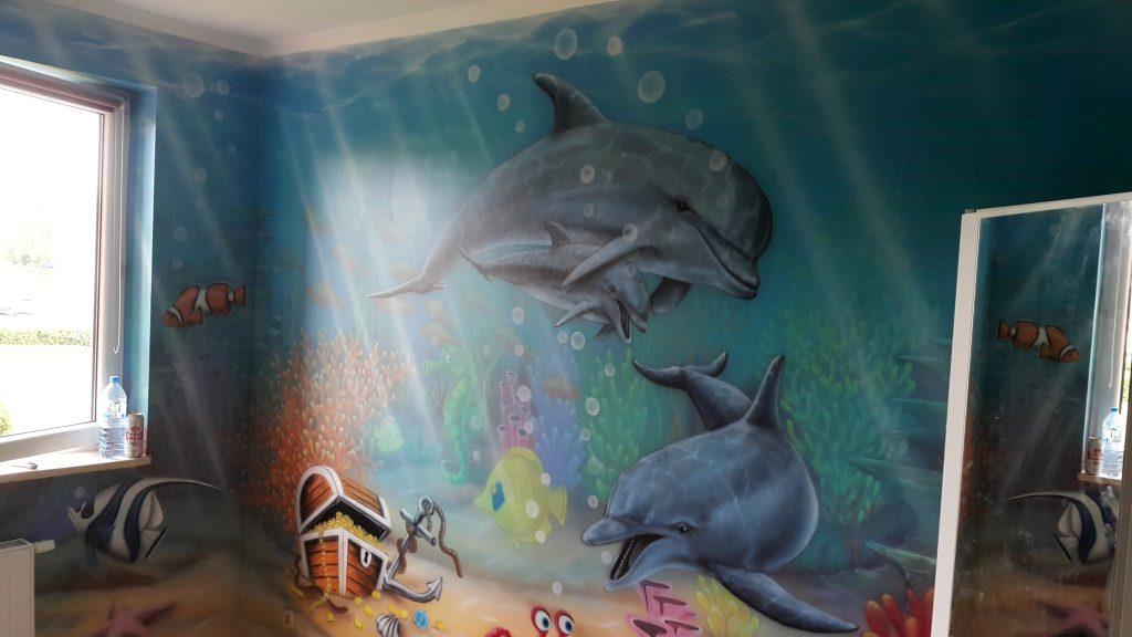 Malowanie pokoju dziecięcego, pokój chłopca, malowanie rafy koralowej