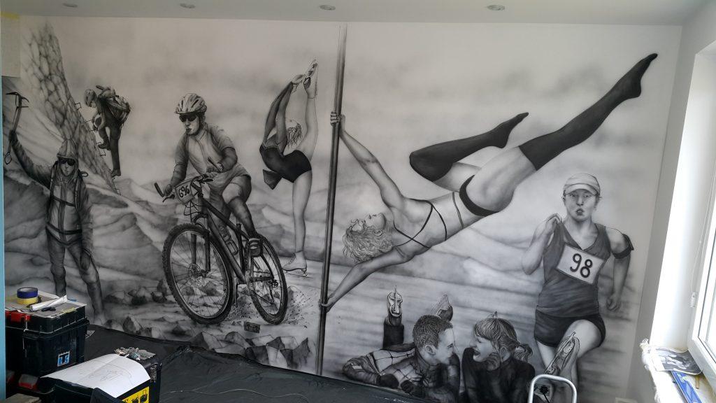 Obraz czarno biały namalowany na ścianie wrocław