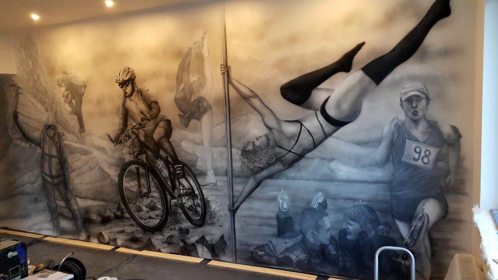 Wrocław malowanie ścian 3D, czarno białe graffit