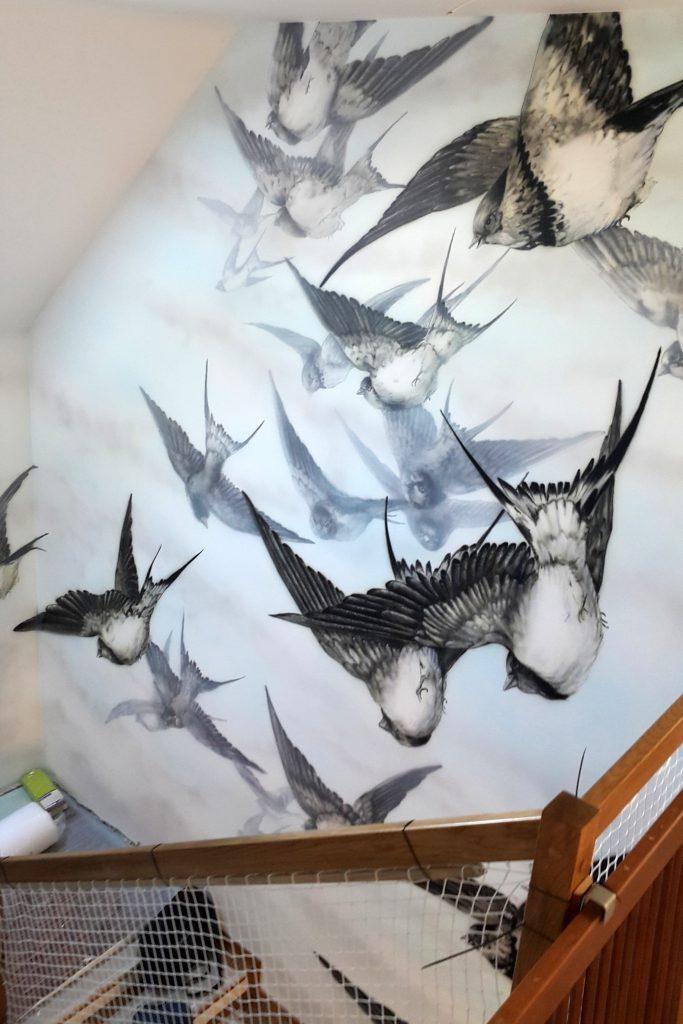 Mural na klatce schodowej, niezwykła malowidło w klatce schodowej