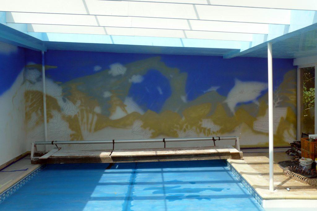 Malowanie basenu, malowidło ścienne na basenie, Aranżacja ściany na basenie, malowidło ścienne na basenie