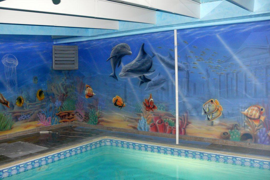 mural 3D na pływalni, aranżacja basenu