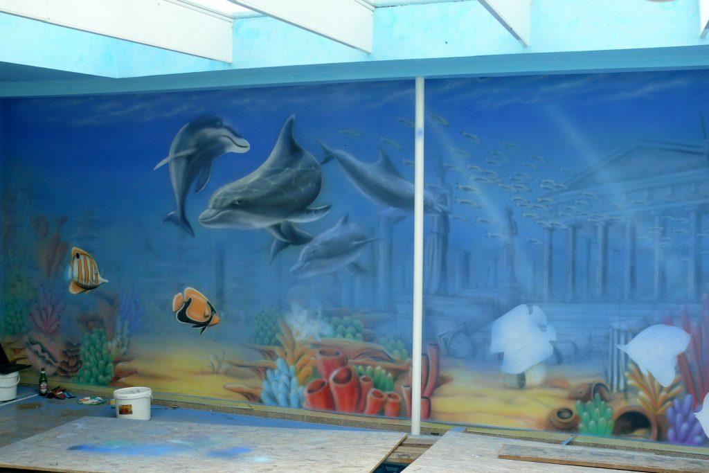 Malowanie na basenie, mural 3D