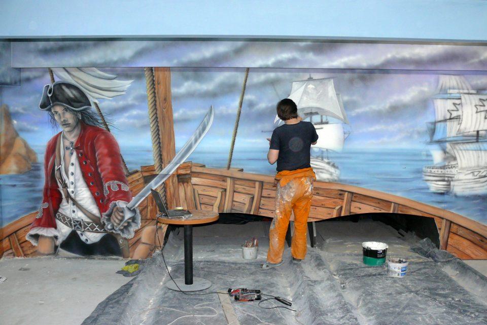 Malowanie kręgielni, painting the bowling alley, mural 3D w kręgielni