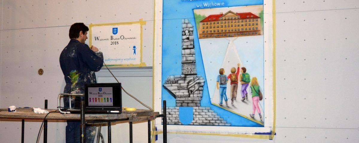 Malowanie loga szkoły, Malowanie reklam na ścianie, malowanie szyldu reklamowego i loga,