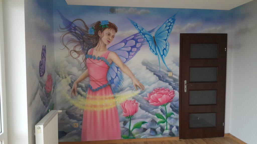 Malowanie w pokoju dziewczynki, malowanie księżniczki na ścianie, malowanie murali w pokojach dziecięcych