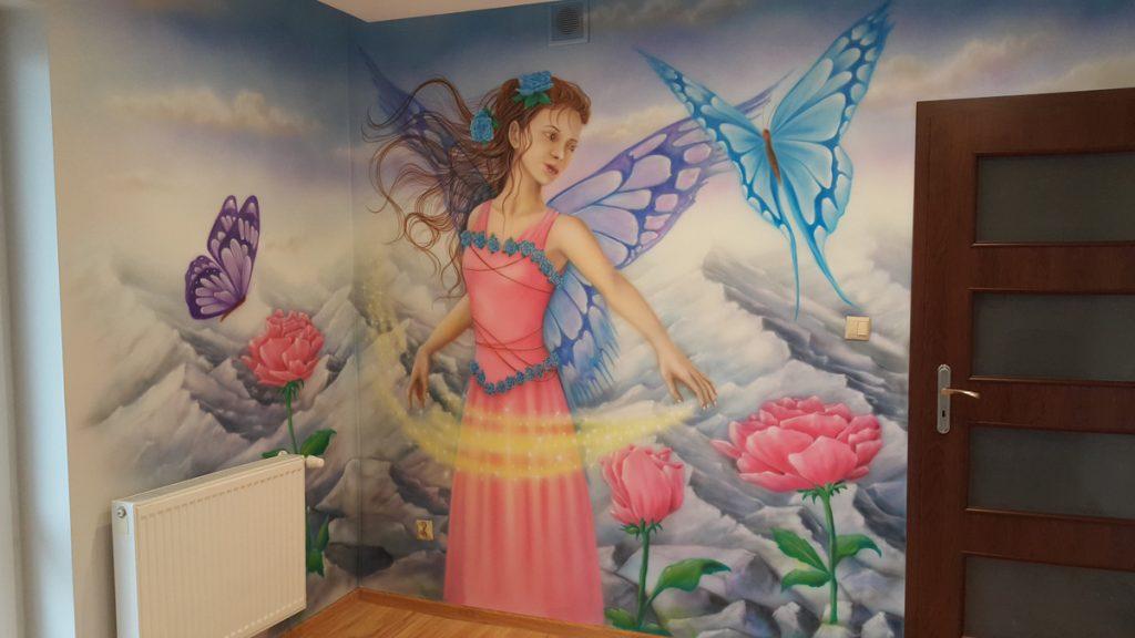 Malowanie w pokoju dziewczynki, mural w pokoju nastolatki, malowanie pokoi dziecięcych