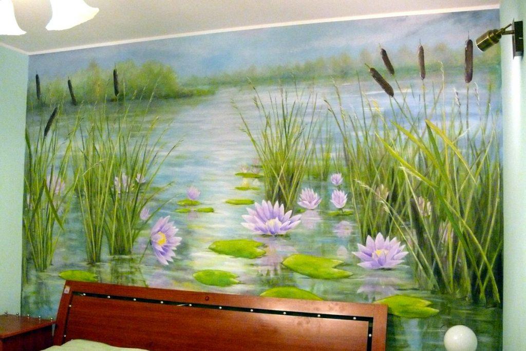 Duży obraz olejny, malowanie wielkoformatowych obrazów na płótnie, malowanie rozlewiska