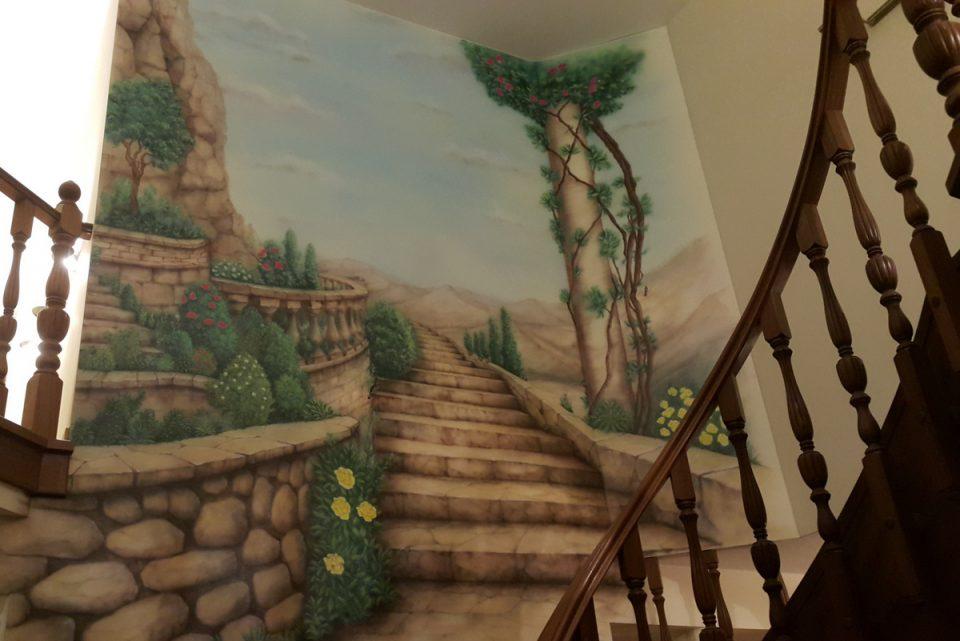 Aranżacja klatki schodowej, malowanie malowidła ściennego na klatce schodowej