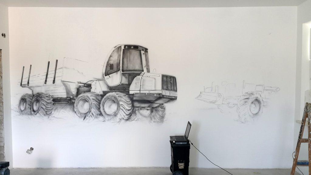 Aranżacja ściany w biurze, malowanie obrazu na ścianie, malarstwo dekoracyjne